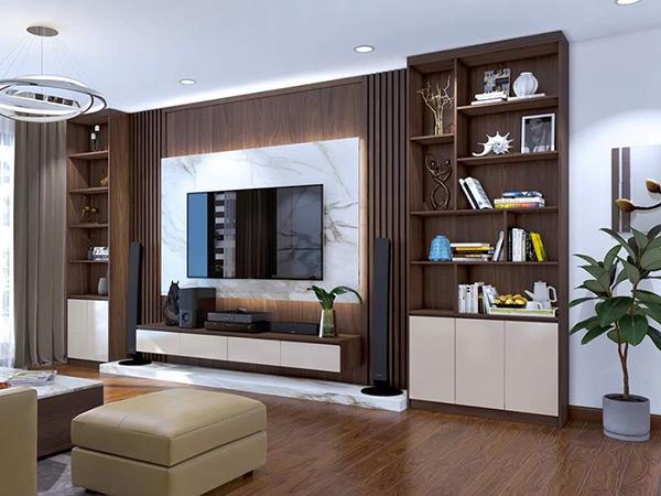 Kệ tivi được làm bằng gỗ chắc chắn sang trọng