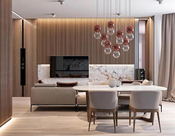 Phòng khách sang trọng với vách gỗ ốp tường ấn tượng