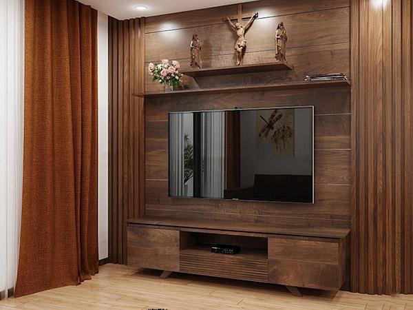 Thiết kế tivi và vách ốp tường sau tivi bằng gỗ