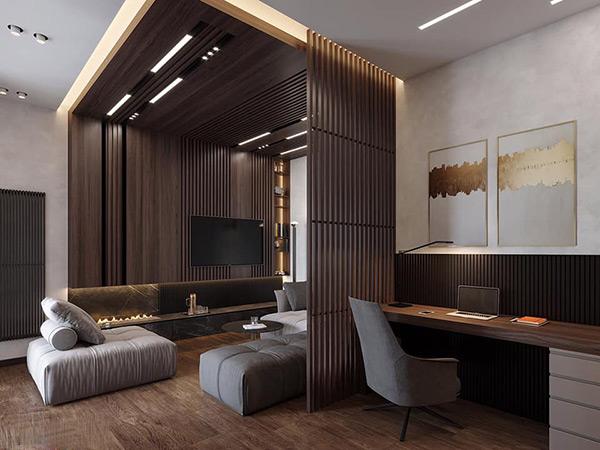Phòng khách và phòng ăn được ngăn cách bởi vách ngăn gỗ