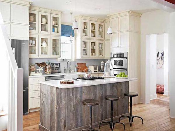 Bàn đảo bếp kết hợp bàn ăn sử dụng chất liệu gỗ sang trọng