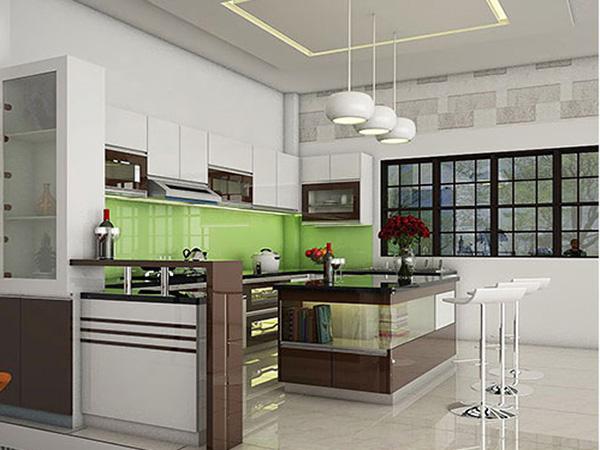 Đảo bếp 2 tầng với mặt kính trong suốt tạo nên giá trị cao về thẩm mỹ