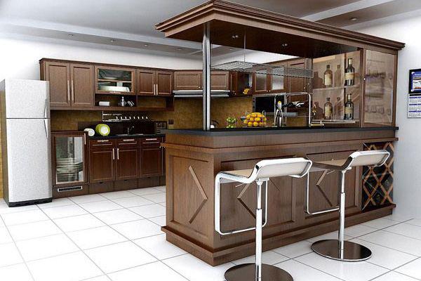 Thiết kế gõ cao cấp tạo nên không gian bếp sang trọng