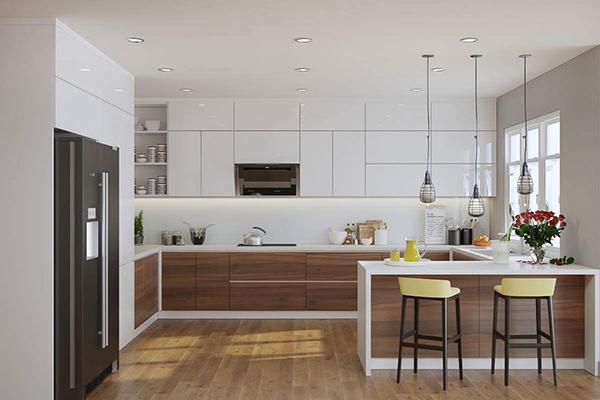Quầy bar gắn liền với thiết kế bếp tạo nên tính logic trọn vẹn