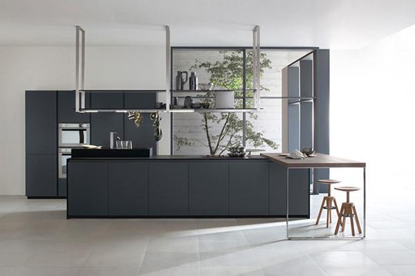 Đảo bếp sử dụng kiểu dáng đơn giản kết hợp tông màu trung tính