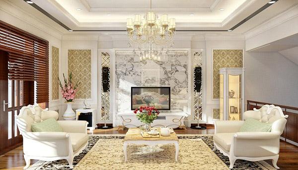 Giấy dán tường vàng chanh kết hợp đồ nội thất trang nhã, lịch sự