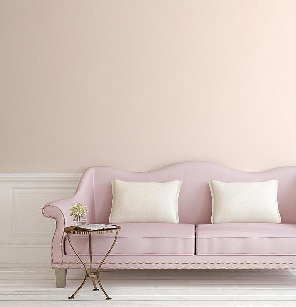Màu pastel nhe nhàng của giấy dán tường khiến không gian nhẹ nhàng, cuốn hút
