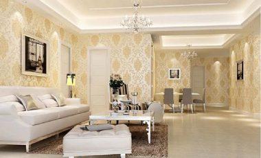 Mẫu giấy dán tường phòng khách đẹp, hiện đại