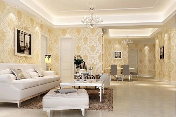 Mẫu giấy dán tường phòng khách hiện đại pha kèm nét tân cổ điển cuốn hút