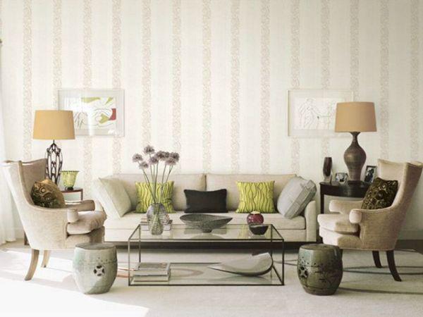 Mẫu giấy dán tường phòng khách đẹp cho nhà ống