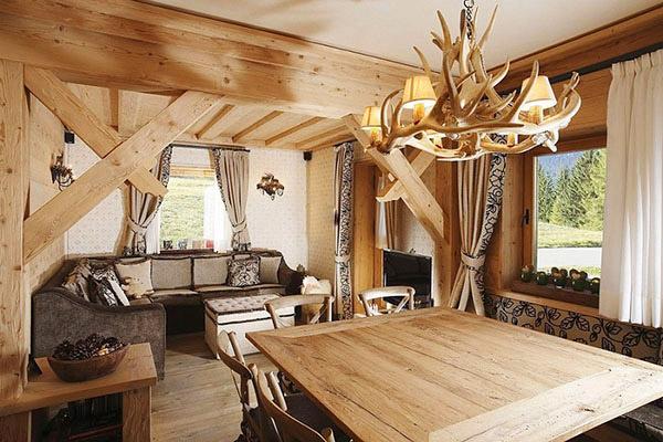 Nội thất phòng ngủ phong cách Rustic sử dụng chất liệu gỗ