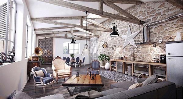 Tường đá cũ mang đến vẻ đẹp không gian nội thất Rustic