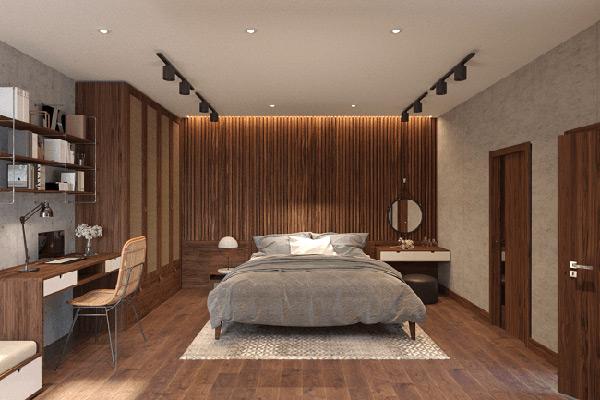 Phòng ngủ mang phong cách Rustic được tái hiện một cách có chọn lọc