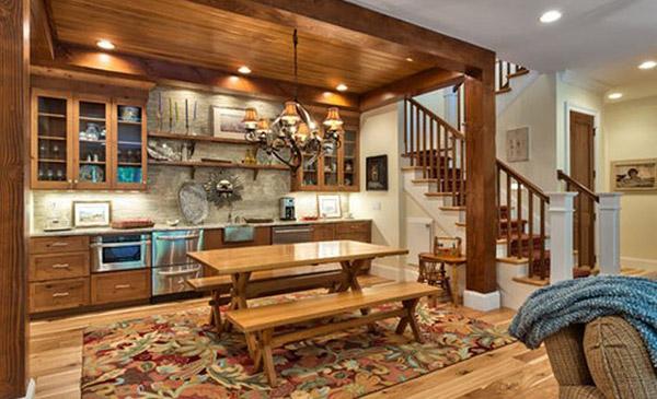 Nội thất phòng bếp Rustic Style sử dụng vật dựng đơn giản