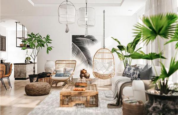 Chất liệu vải thiên nhiên đơn giản được tái hiện trong không gian nội thất