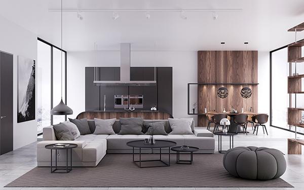 Tông màu trung tính trong các mòn đồ nội thất giúp căn phòng rộng rãi