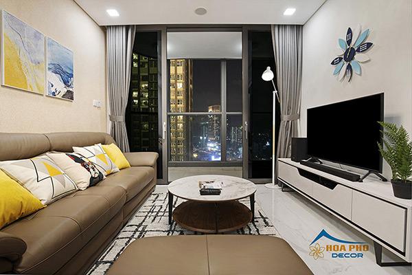 Căn hộ 1 phòng ngủ sử dụng nội thất đơn giản tập trung vào công năng