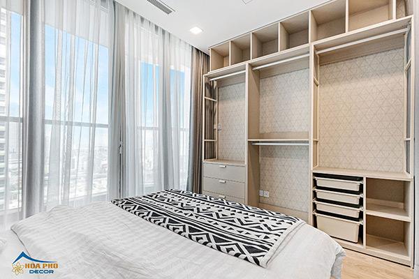 Nội thất phòng ngủ sử dụng thiết ké tủ âm tường