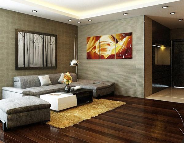 Tường phòng khách sử dụng tranh treo tường hiệu ứng 3D