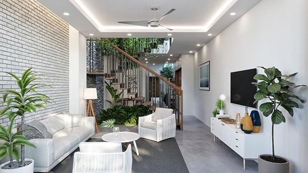 Vẻ đẹp tự nhiên của cây xanh mang đến cảm giác rộng rãi cho căn nhà