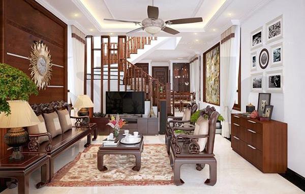 Trang trí phòng khách nhà ống bằng nội thất gỗ cao cấp, hiện đại