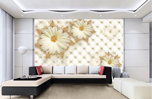 Mảng tường nổi bật với họa tiết trang trí ấn tượng, cuốn hút
