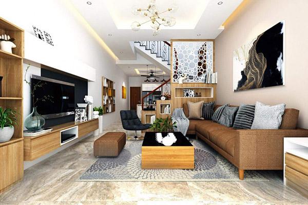 Chất liệu gỗ cao cấp được ứng dụng hài hòa trong không gian phòng khách