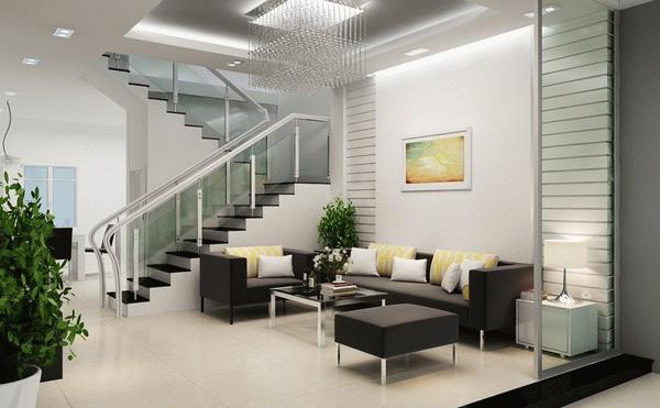 Thiết kế phòng khách nhà ống với tông màu trắng lịch sự, trang nhã