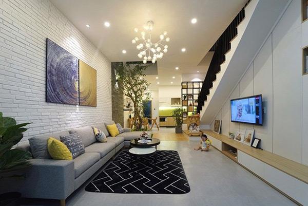 Nội thất phòng khách sử dụng phong cách thiết kế hiện đại