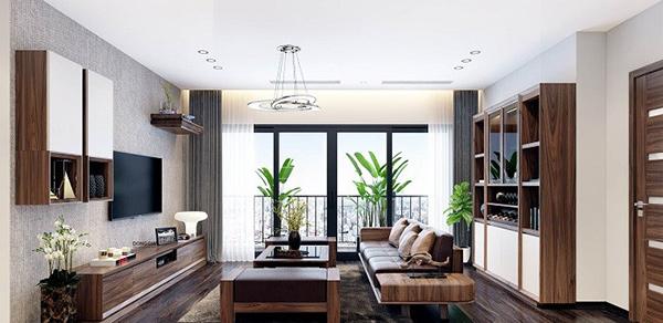 Thiết kế phòng khách nhà ống sử dụng gỗ óc chó cao cấp