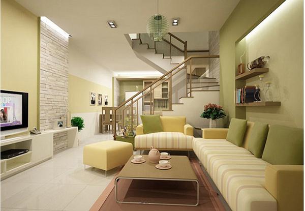 Phòng khách nhà ống 5m sử dụng gam màu pastel nhẹ nhàng