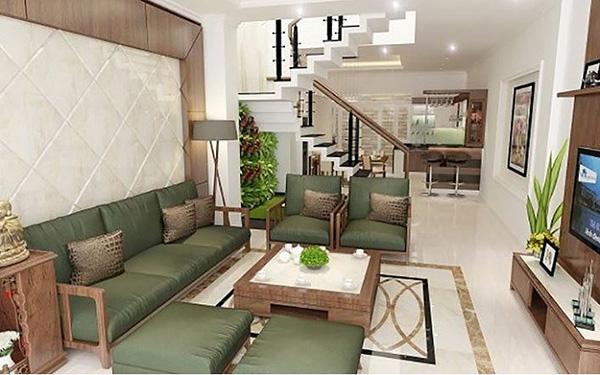 Phòng khách nhà ống 4m sử dụng hiệu ứng tương phản về màu sắc