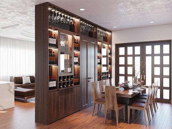 Tủ rượu trang trí đồng thời là vách ngăn phòng khách - bếp với nhau
