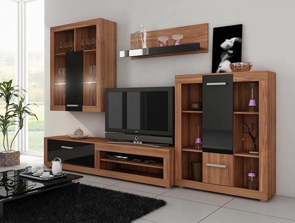 Chất liệu gỗ cao cấp của tủ phòng khách giúp trang hoàng tổng thể căn phòng