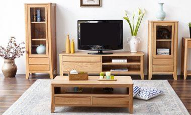 Mẫu tủ tường bằng gỗ trang trí phòng khách hiện đại